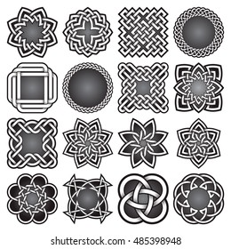 e6aa2f10a Set of abstract sacred geometry symbols in Celtic knots style. Tribal tattoo  signs collection.