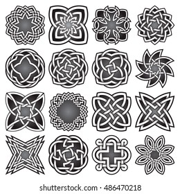 Set of abstract sacred geometry symbols in Celtic knots style. Tribal tattoo signs collection.