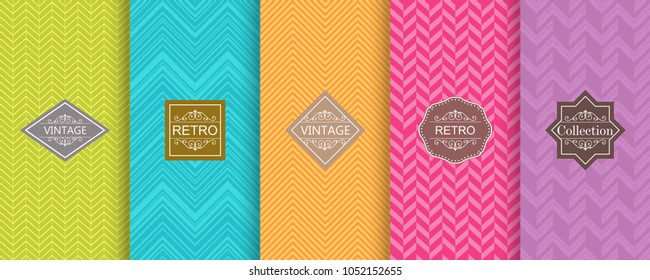 Set of abstract seamless geometric pattern on vibrant background. Cute bright seamless chevron patterns. Vector illustration bright design.