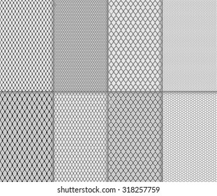 Set of abstract seamless lace and tulle pattern. Detail polka dotted and lined lacy material design. Black patterned net tile texture on white and gray color background, vector art image illustration
