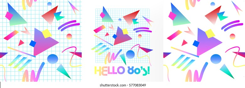 Set abstract seamless pattern backgrounds. With lettering HELLO 80's. Retro 80s or 90s memphis geometric fashion style . Hip Hop style good for vintage textile fabric design. Vector illustration.