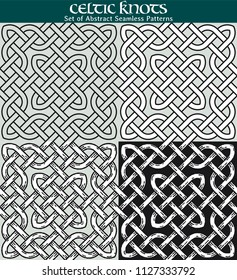 Set of Abstract Seamless Patterns. 4 different versions of a seamless pattern with Celtic knots: with white filling, without filling, with shadows and with a black background.