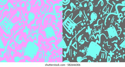 Set abstract seamless patterns backgrounds. Retro 80s or 90s memphis geometric fashion style . Good for vintage textile fabric design, wrapping paper and website wallpapers. Vector illustration.
