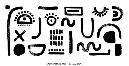 Set of abstract shapes. Face constructor elements, eyes, mouth,nose, ear.  Modern art character. Brush stroke. Grunge texture.