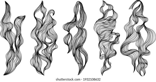 Set of abstract shapes. Ink painting style abstract composition. Hand drawn Vector illustrations.