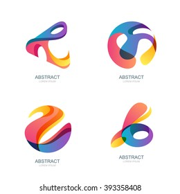 Set of abstract shapes for trendy logo, label, icons. Vector modern backgrounds and  overlapping design elements. Abstract 3d sphere.
