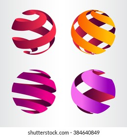 Set of abstract sphere logo. Template for logotype.
