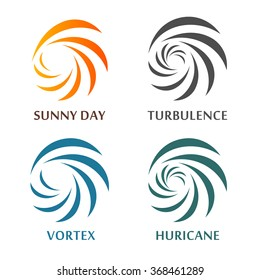 Set of abstract spinning vector logos. Collection of natural disasters signs. Weather forecast symbols. Hypnotic spirals logotypes. Tornado, hurricane,vortex,swirl,snowstorm illustrations. Sunny sign.