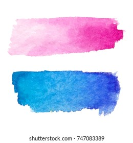 Set of abstract stains. Pink red and blue colors. Bright creative horizontal backdrop. Watercolor texture with brush strokes.Spots Isolated in white background. Trendy colorful design.Hand painted.EPS