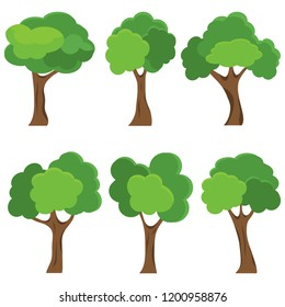 Set of abstract stylized trees. Natural illustration. Flat design.