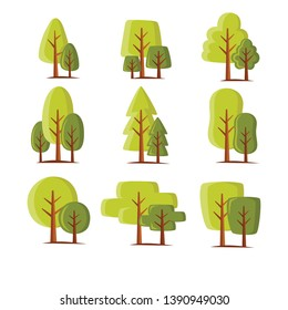 Set of abstract stylized trees. Natural illustration.