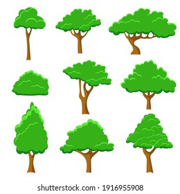 Set of abstract stylized trees for Vector Illustration. Trees collection  isolated on white background. Set of flat trees silhouette.  Vector EPS10