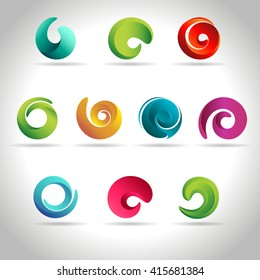 Set of abstract swirl colorful icons, vector illustration