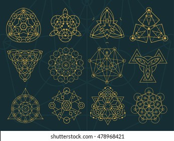 A set of abstract symbol in different styles: sacred geometry, magic, mystic, meditation, alien.