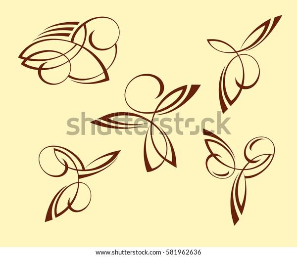 Set abstract tattoo. Brown  .Vector illustration.