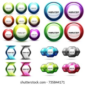 Set of abstract techno minimal icons. Vector futuristic technology design elements, buttons, labels