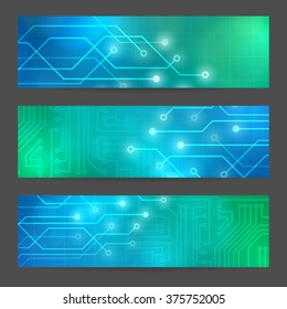 Set Abstract technology computer vector banners circuit board vector background.