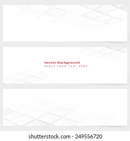 Set of abstract template horizontal perspective banner with square tiles