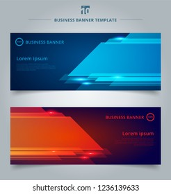 Set of abstract template technology web banner geometric red and blue color shiny motion background with lighting effect. Vector corporate design