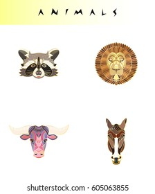 Set of abstract and thin line animal icons. Modern hipster design logo, badge, label, sticker. Vector stock illustration.Raccoon, lion, bull, horse