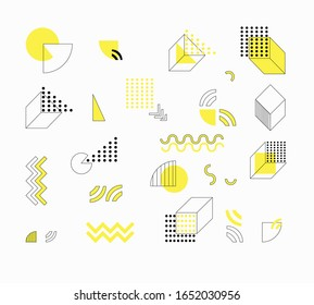 Set of abstract trending geometric elements for design