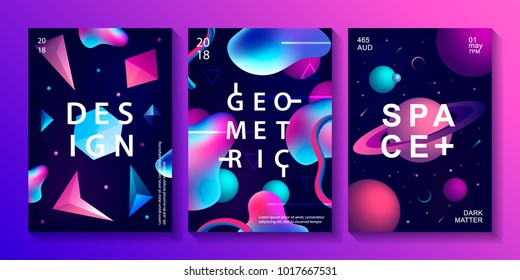 Set of abstract trendy cosmic posters with crystal gems, pyramid geometric shapes, planets, stars and liquid color shapes. Neon galaxy backgrounds. 80s style. Vector illustration.