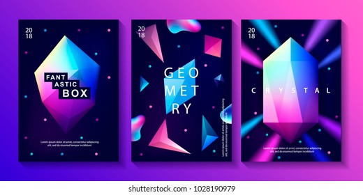 Set of abstract trendy cosmic posters with crystal gems and pyramid geometric shapes. Neon galaxy background. 80s style. Poster with geometric polygon pyramid or crystal. Vector illustration.