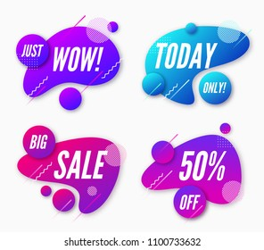 Set of abstract trendy dynamic style compositions, promotion banners, discount labels, text boxes. Vector illustration.