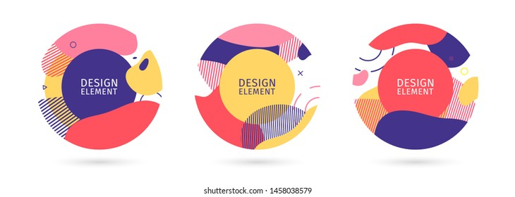 Set of abstract trendy graphic circle elements. Dynamical bright colors around forms and line background. Gradient abstract banner with flowing liquid shapes. Template for flyer, cover design. Vector.