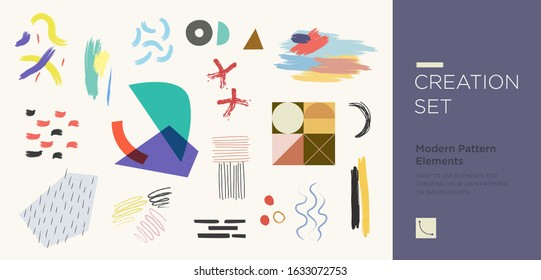 Set of abstract trendy hand drawn shapes and design elements. Pattern Creation set. Vector