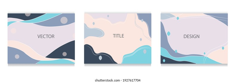 Set of abstract vector backgrounds in gray-blue tones with copy space for  backgrounds,  covers and brochures templates
