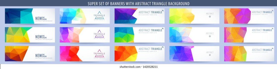 Set of abstract vector banner with triangle colorful background. Template for design