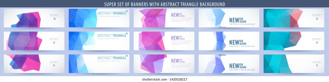 Set of abstract vector banner with triangle background. Template for design