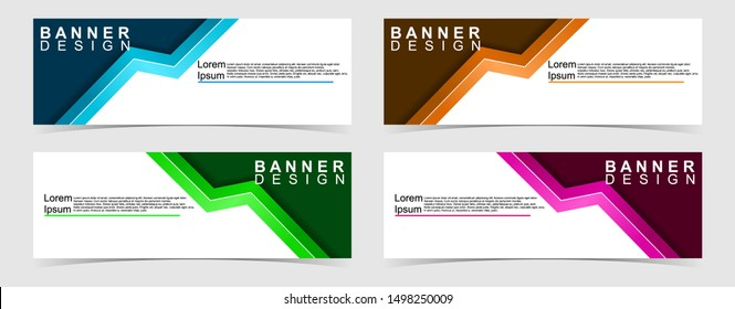 Set of abstract vector banners design. Collection of web banner template. modern template design for web, ads, flyer, poster with 4 different colors isolated on grey background