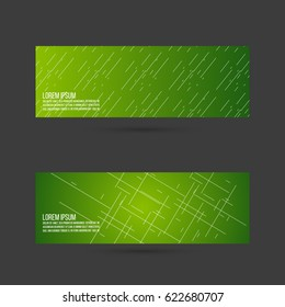 Set of abstract vector banners, header. Layout footer design. Dynamics and movement diagonal lines on green gradient. Vector illustration.