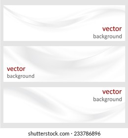 Set abstract vector banners with smooth shiny silver waves