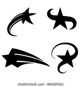 Set of abstract vector black stars.