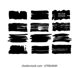 Set of abstract vector brush strokes. Black backgrounds, spots. handmade
