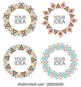 Set of Abstract Vector Circles on White. Decorative Circular Elements for Your Design