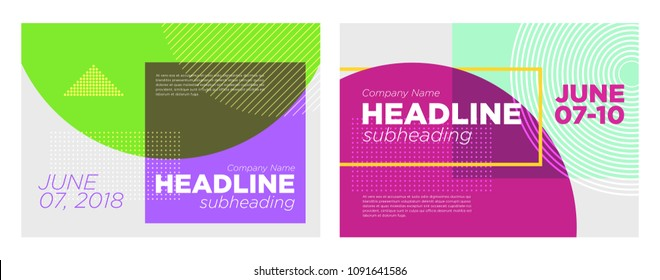 Set of Abstract Vector Dynamic Backgrounds. Modern Minimal Geometric Design. Advertising Poster Template for Conference, Online Courses, Master Class, Webinar, Business Event Announcement. Flat Style.