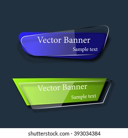 Set of abstract vector glass banners. Vector illustration.