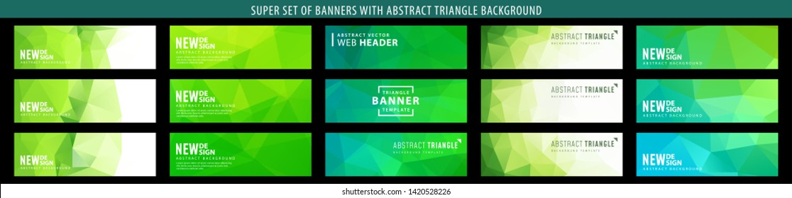 Set of abstract vector green banner with triangle background. Template for eco design