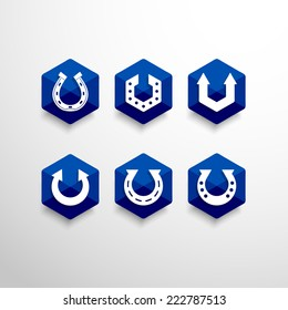 Set of Abstract Vector Logo Design Template. Creative Horseshoe Concept Icons.