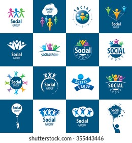 set of abstract vector logos people to social groups