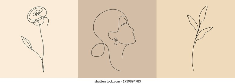 A set of abstract vector logos in a trendy style featuring a woman's face and flowers, perfect for social media, wall designs, covers.