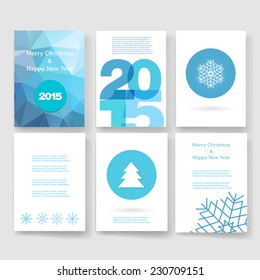 Set of abstract vector modern brochure design template with numbers. Happy new year 2015 . Postcard, invitation. Vector illustration.