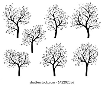 Set of abstract vector stylized illustration of spring trees with leaves and flowers.