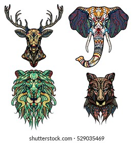 Set of Abstract Vector tattoo illustrations. Lion, deer, elephant and wolf Ethnic patterned totem. Leo zodiac sign. T-shirt print, bag, postcard, poster. African / indian design