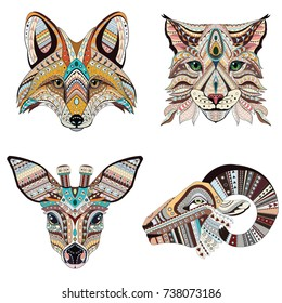 Set of Abstract Vector tattoo illustrations. Fox, lynx, roe and ram ethnic patterned totem.  T-shirt print, bag, postcard, poster. African / indian design
