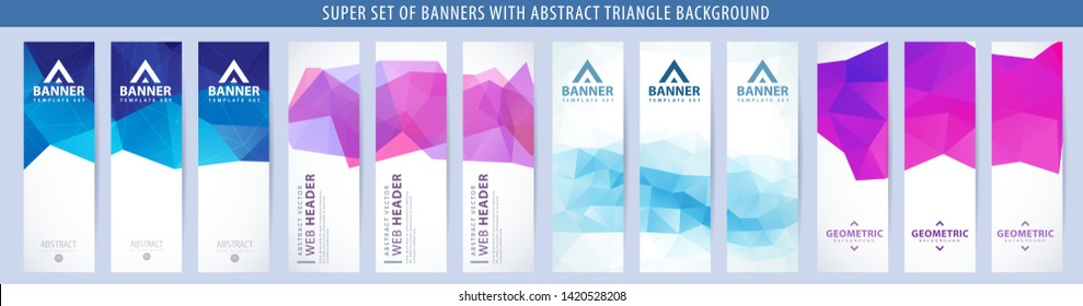 Set of abstract vector vertical banner with blue and purple triangle background. Template for design